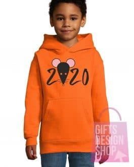 """Kalėdiniai vaikiški džemperiai su gobtuvu """"Žiurkė 2020"""""""