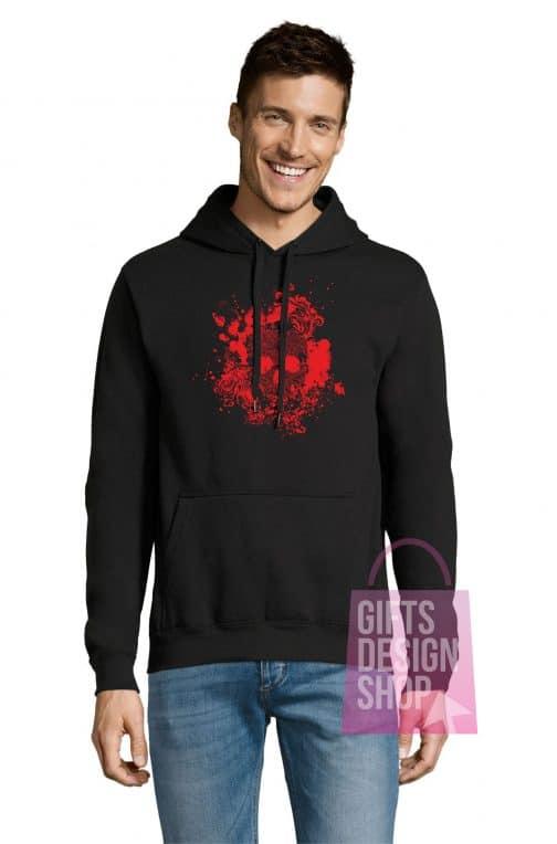 Helovino džemperis juodas su gobtuvu