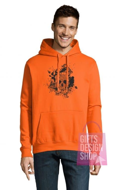 Helovino džemperis oranžinis su gobtuvu