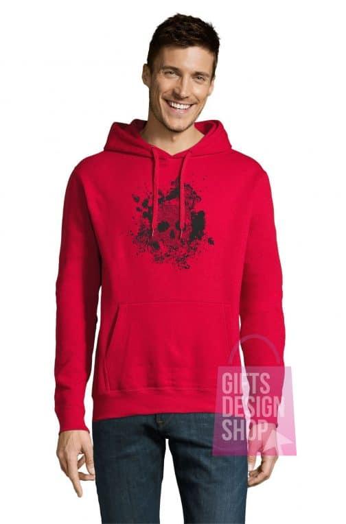 Helovino džemperis raudonas su gobtuvu