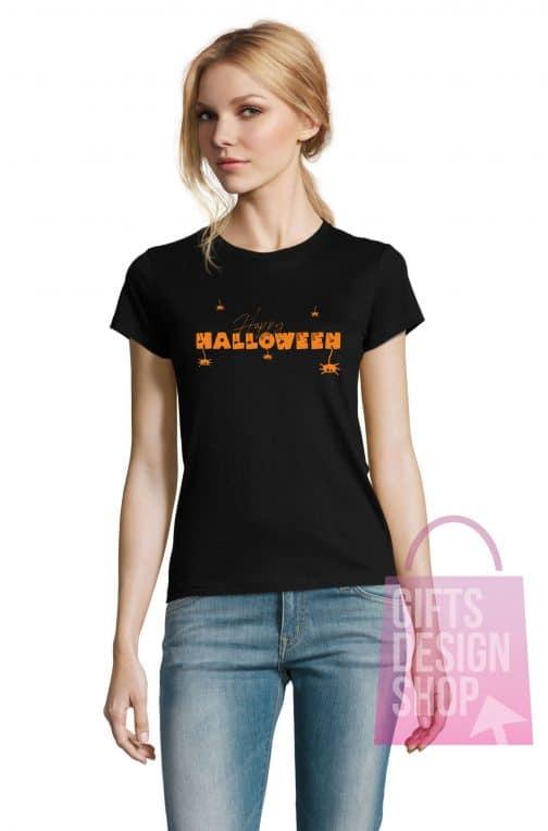 Helovino marškinėliai moterims juodi