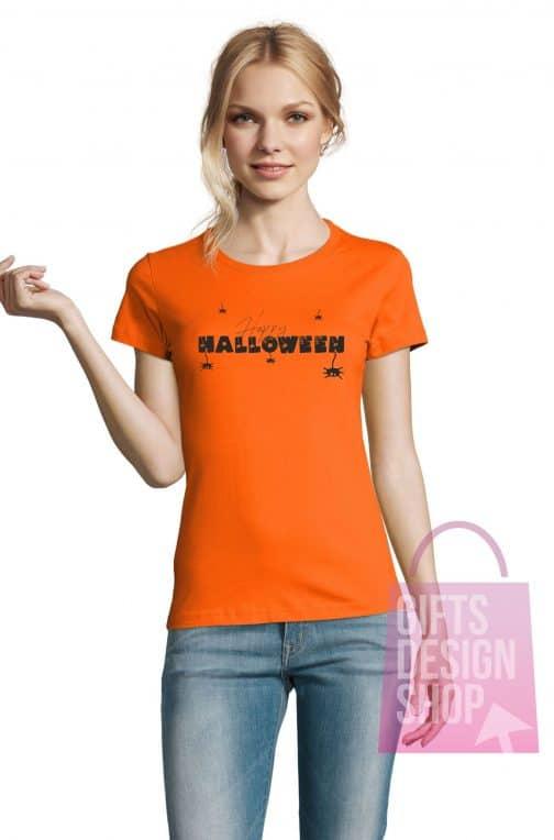 Helovino marškinėliai moterims oranžiniai