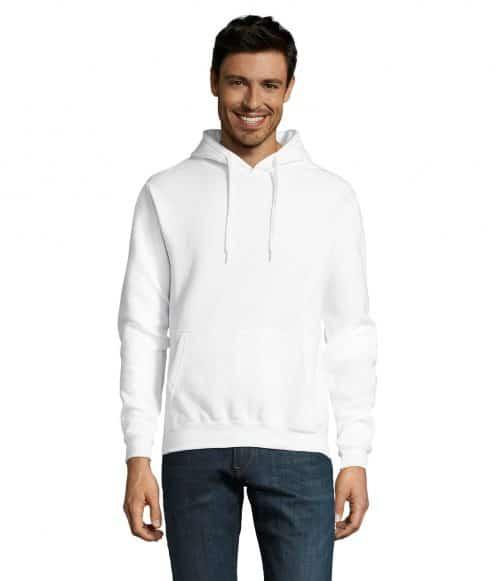 Baltas džemperis su gobtuvu
