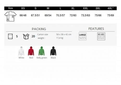 Džemperių su gobtuvu lentelė