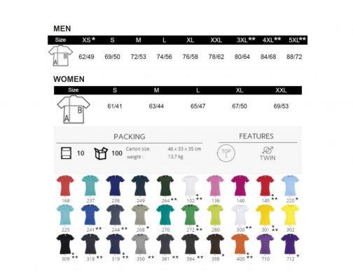 Vyriški ir moteriški spalvos ir dydžiai