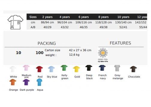 Vaikiški medvilniniai marškinėliai dydžiai